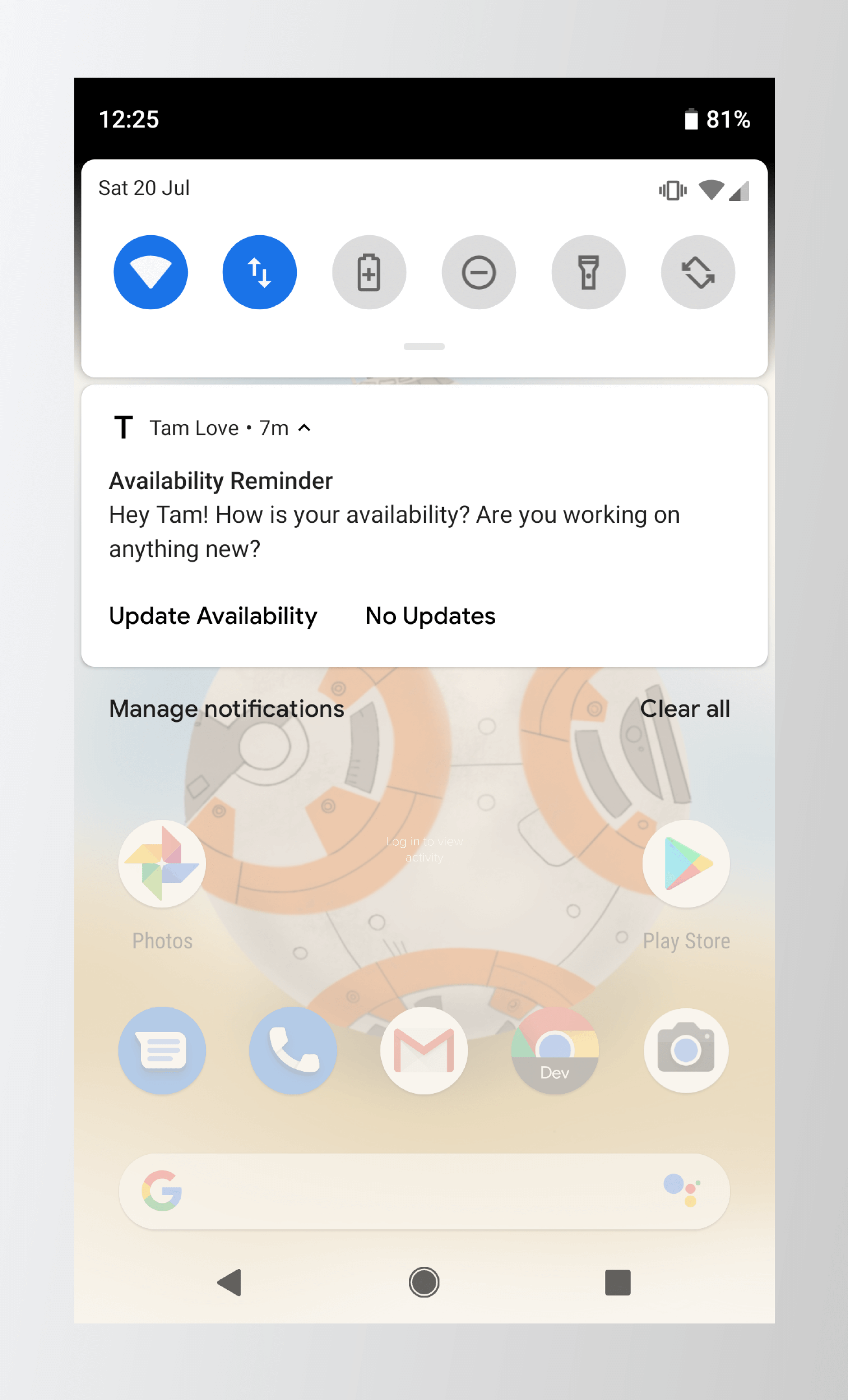 Tam Love Work Availability App Notification Image